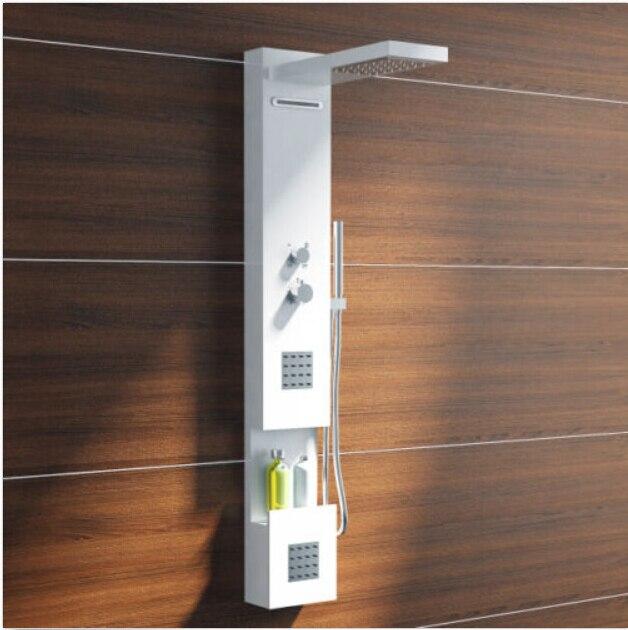 corain solid surface piedra panel de ducha montado en la pared columna de ducha de chorros