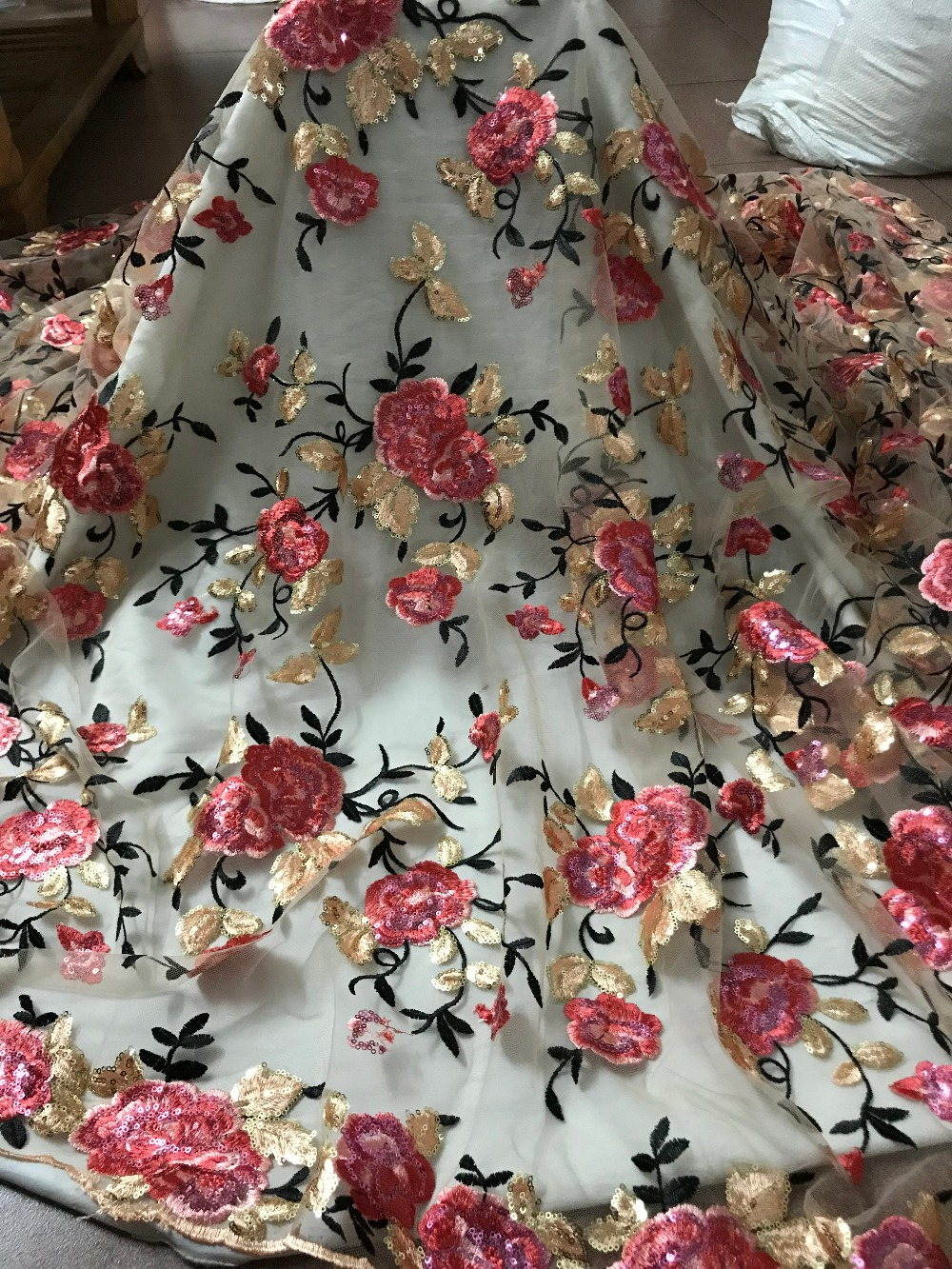 luxury ZH 51523 flower sequins Embroidered African tulle French Lace Fabric With best quality