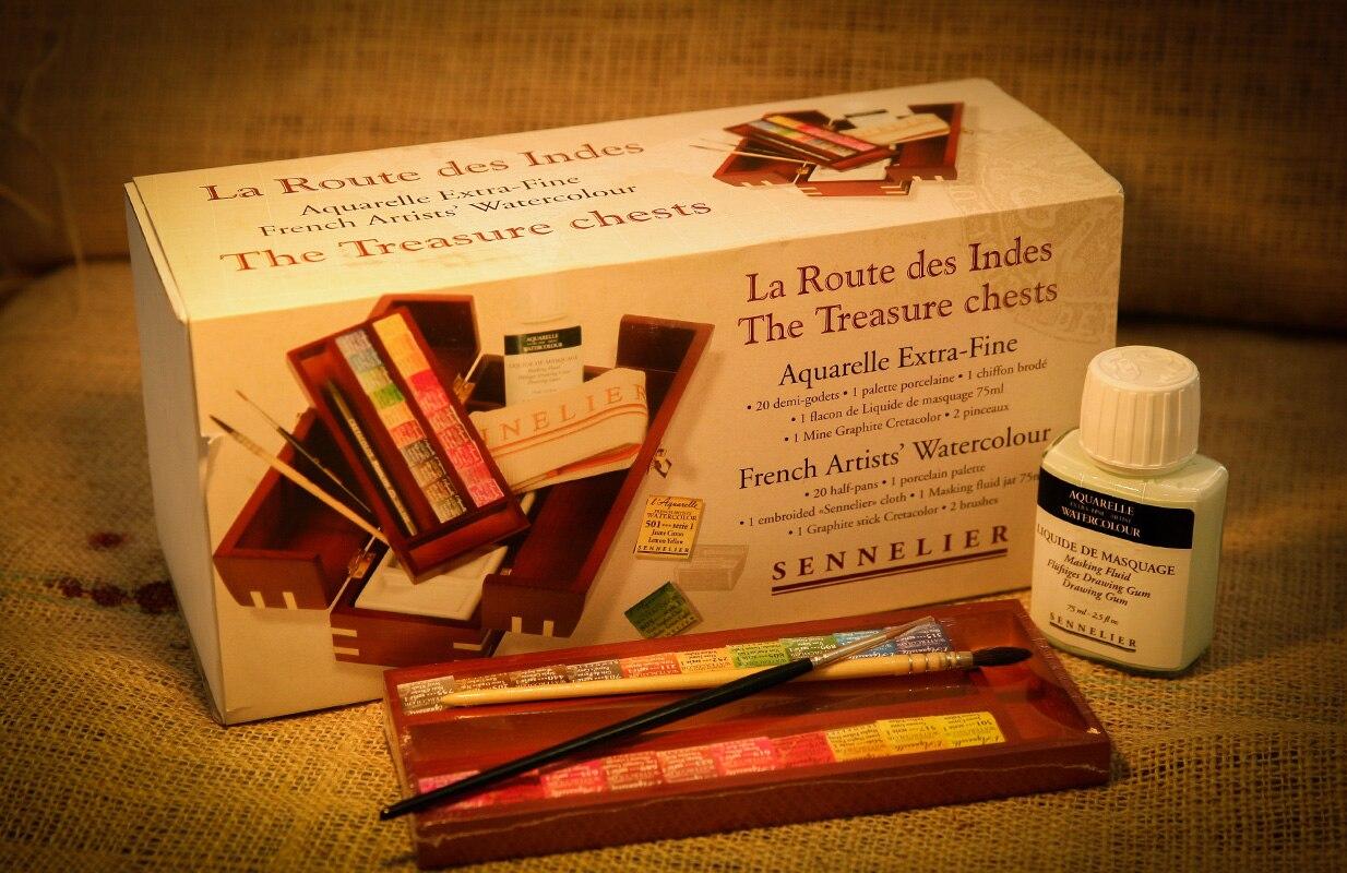Sennelier High Level Artist Pigment 20 Color Watercolor Paint Palette Ceramic Solid Wooden Box Set