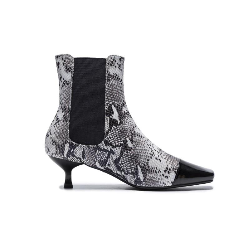 Para Tobillo Mujeres Snake 2018 Las Moda Estilo Black Genuino De Bajo {zorssar} black Nieve Mujer Botas Cuero Talón Serpiente Zapatos Suede q7YR6Xw