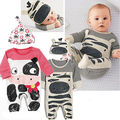 Bebé infantil Niñas Mono Babygrows Bebé Mamelucos Playsuit Ropa + Cap Sombrero 2016 Nuevo