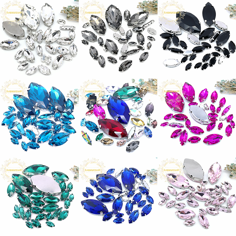 8SIZES 30PCS Free Shipping! Mix Horse Eye Shape Size Glass Crystal Sew On Rhinestones With Silvery Claw Diy Wedding Dress