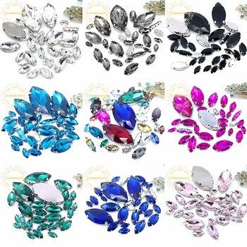 ¡8 tamaños 30 Uds envío gratis! Mezcla de diamantes de imitación de cristal para coser en forma de ojo de caballo con garra plateada Diy vestido de boda