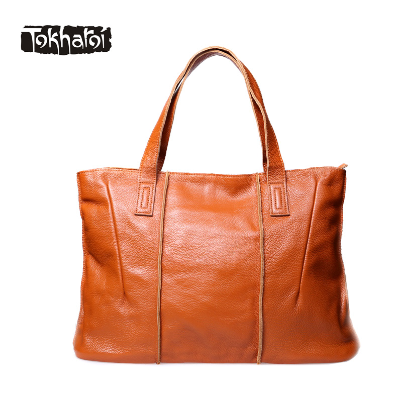 Tokharoi Brand Fashion Women Genuine Leather Shoulder Bags Female Handbag Large Capacity Casual Tote Luxury Solid Bag 2017 New women shoulder bags genuine leather tote bag female luxury fashion handbag high quality large capacity bolsa feminina 2017 new