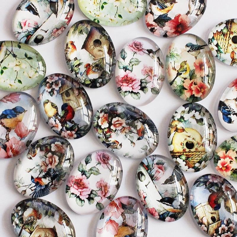 18x25mm Mixed Flower Bird Oval Glass Cabochon Flatback Photo Dome Jewelry Finding Pendant Base 20pcs/lot (K05397)