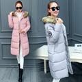 Moscou 2016 Algodão das Mulheres de Inverno Fino Casaco Longo Com Capuz Parka Casacos Casacos Sobretudo Preto Plus Size Anorak Manteau Femme
