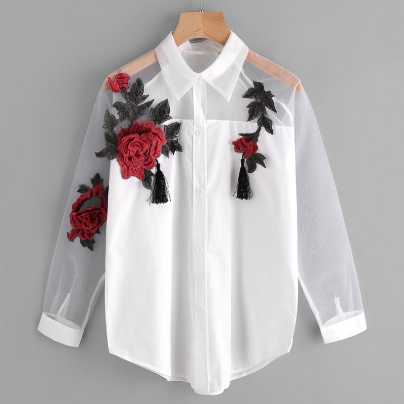 Women Embroidery Blouse Autumn Casual Long Sleeve Lapel Embroidered Flower Tassel Detail Shirt With Sheer Mesh Panel #H0911