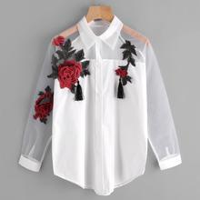 Women Embroidery Blouse Autumn Casual Long Sleeve Lapel Embroidered Flower Tassel Detail Sh
