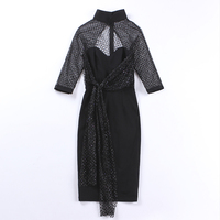 le palais vintage 2017 Very Sexy Sequined Hollow Out See Through Dress Designed Mandarin Collar with Chest Pad and Belt