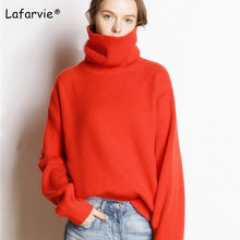 купить Lafarvie Autumn Winter Sweater Women Turtleneck Loose Thick Warm Knitted Cashmere Sweater Pullover Female High Quality Pull S-L по цене 2287.41 рублей