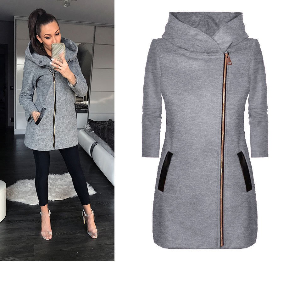 Autumn Women Hooded Long Sleeve   Basic     Jacket   Full Outwear Pocket Zipper Warm   Jacket