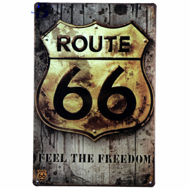 Vintage Metal Signs Retro Poster Route 66 Decor Sticker Decorative Wall Craft Plaque Targhe