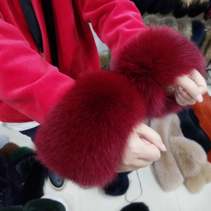 Apparel Accessories High Quality Fox Fur Cuffs Hot Sale Wrist Warmer Genuine Fox Fur Cuff Arm Warmer Lady Bracelet Real Fur Wristband Glove Men's Accessories