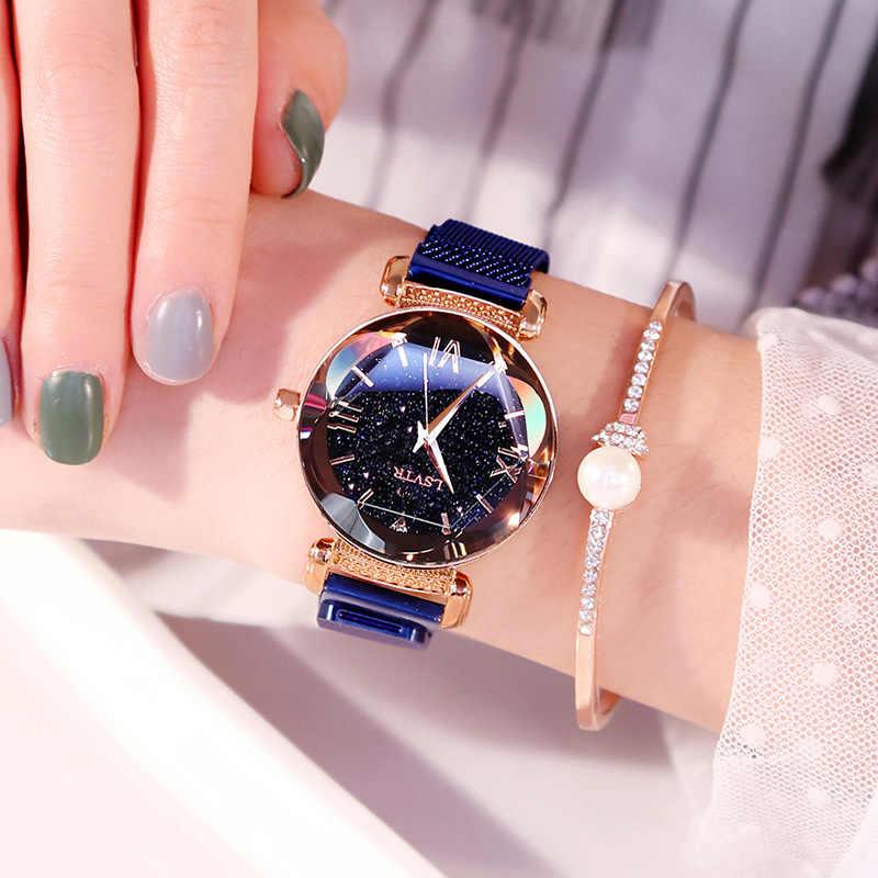 2019 luxus Magnetische Schnalle Schneiden spiegel damen uhren flash diamant stern mode netzwerk wasserdichte frauen uhr weibliche uhr
