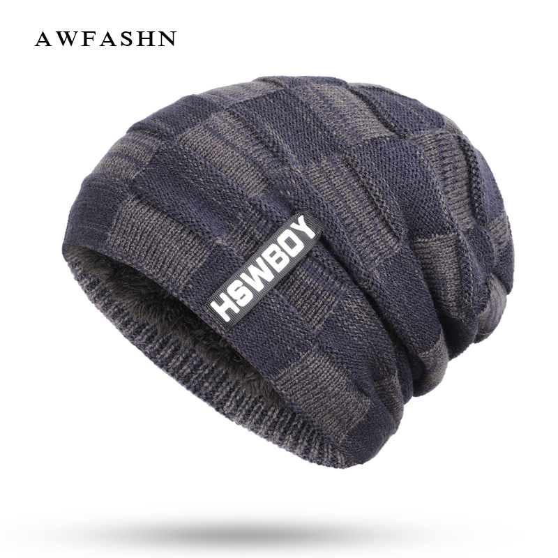 2018 New Fashion Brand HSWBOY Knit Beanie Hat Winter Striped Plaid Plus  Velvet Thicken Hedging Cap Warm Man Male Bone Skullies-in Skullies   Beanies  from ... e5731f3a867