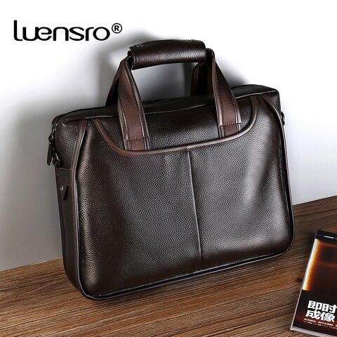 LUENSRO Fashion Men Briefcase Genuine Leather Handbag Male 14 inch Laptop Bag Real Leather Bussiness Shoulder Bag For Men 2018 Pakistan