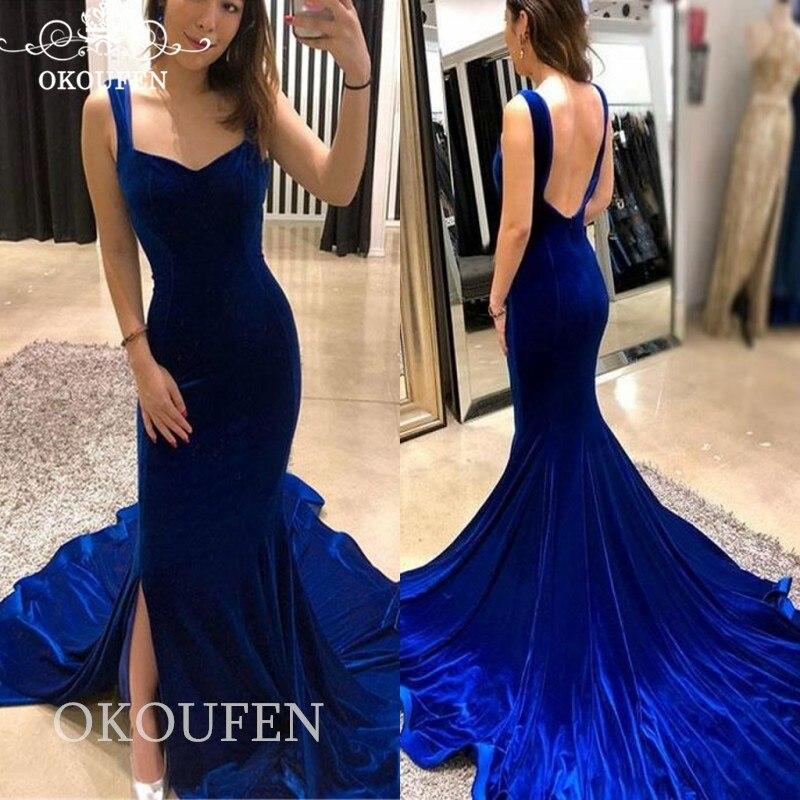 Royal Blue velours sirène robes de bal pour les femmes longue chapelle Train 2019 élégant dos nu côté fendu robe de soirée robe de soirée