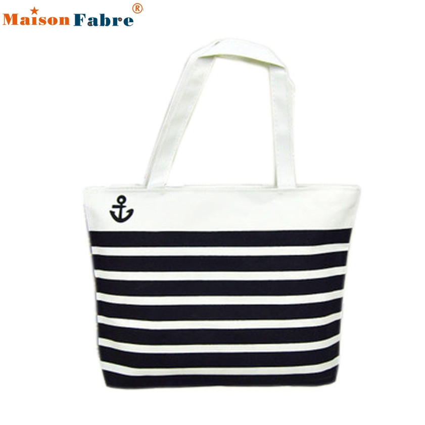 High quality Canvas Black Anchor Pattern Shopping Shoulder Bags Women Handbag Beach
