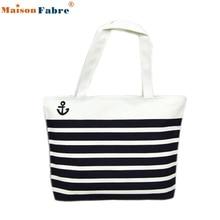 High quality Canvas Black Anchor Pattern Shopping Shoulder Bags Women Handbag Beach