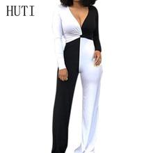HUTI Black White Patchwork Jumpsuits Sexy Deep V Neck Long Sleeve Autumn Loose Playsuits Women Combinaison Femme Plus Size XXL