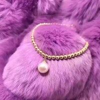 Sinya натуральный жемчуг 18 К золото Бусины strand браслет для женщин обувь девочек мама lover Длина 16 + см 2 см может регулируемый жемчуг Диаметр 8,5 мм