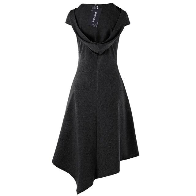 Gothic Style Asymmetrical Hooded Cut Out Women Dress Summer Hooded Short Sleeves Dresses Vestido De Festa 4 Colors 5