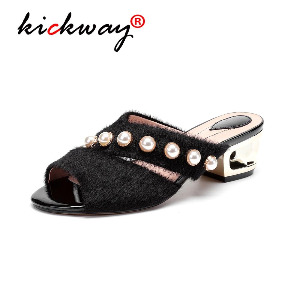 2019 chaussures d'été femmes sandales confortables hauts talons carrés chaussures en cuir véritable femme chaussures femme grande size34-43