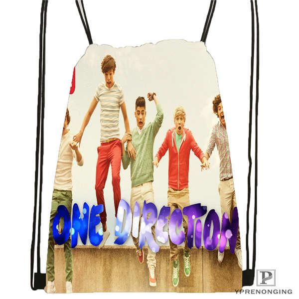 Custom One Direction@01-  Drawstring Backpack Bag Cute Daypack Kids Satchel (Black Back) 31x40cm#180611-01-39