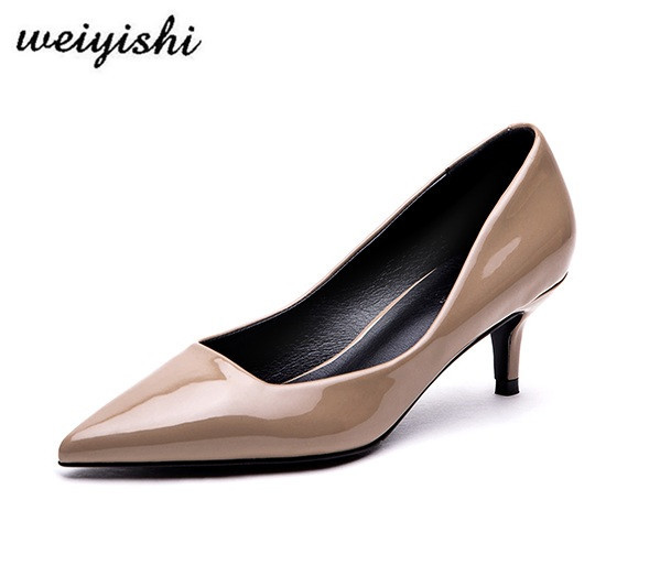 2018 new women pink patent leather short heel shoes 34-in Women s ... 0332bd5711