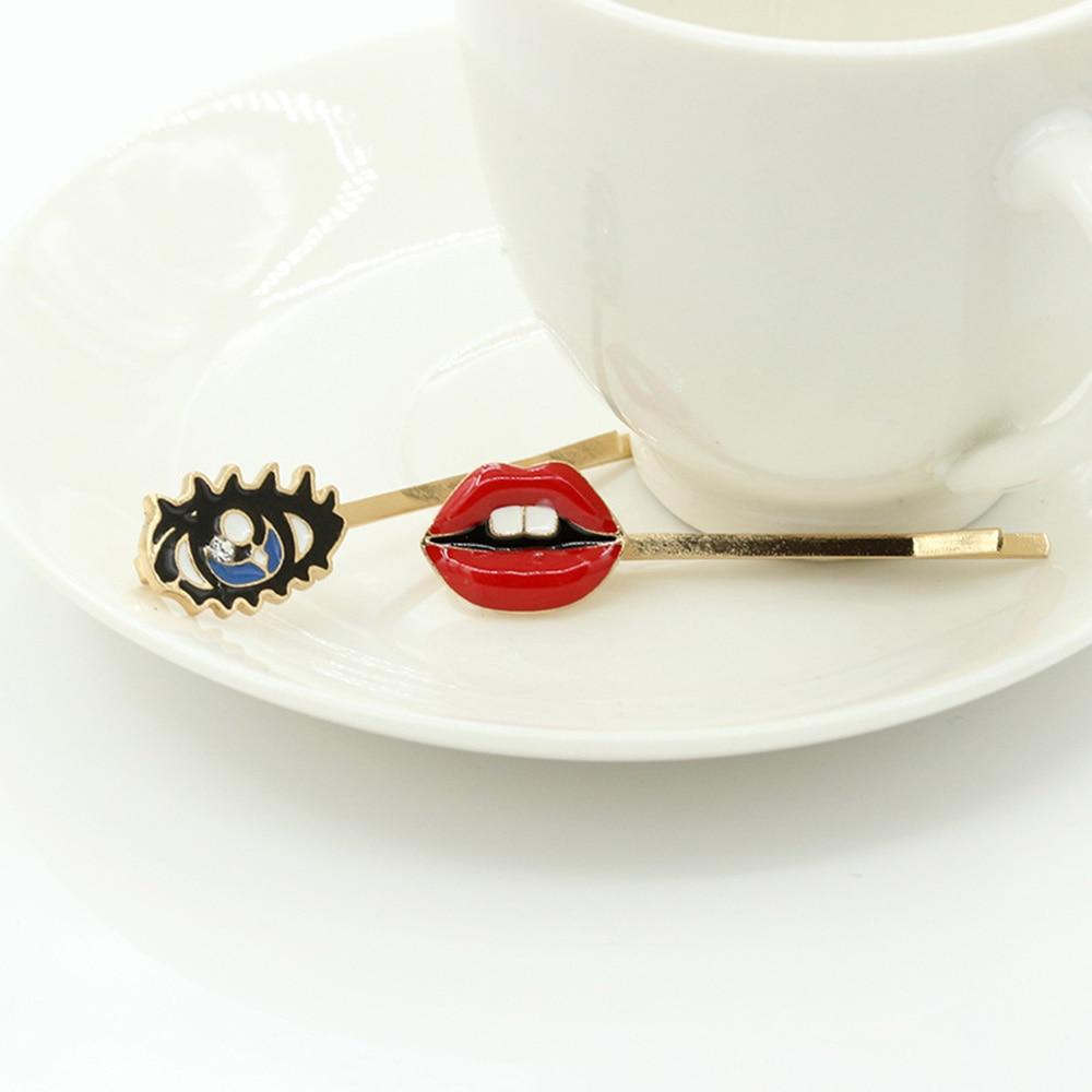 Creative Lips Eyes Shape Women Lady Girls Hair Clip Delicate Hair Pin Hair Barrette Hair Accessories Decorations