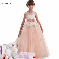 Ball Gown Champagne Flower Girl Dress Long Puffy Tulle Lace Children Party Dress For Weddings Beaded Kids Gowns With Bow FLG076