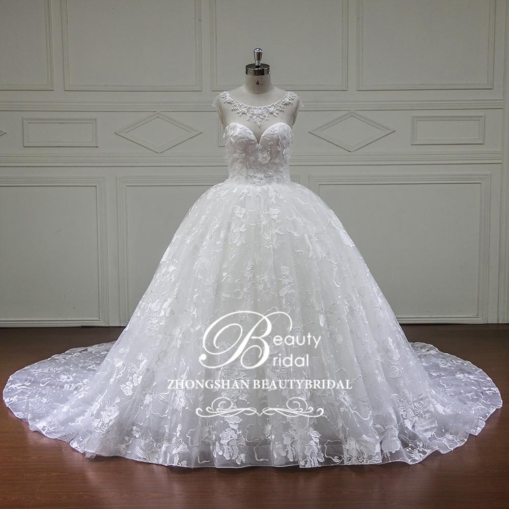 Eslieb विंटेज Wdiing ड्रेस 2018 मनके - शादी के कपड़े
