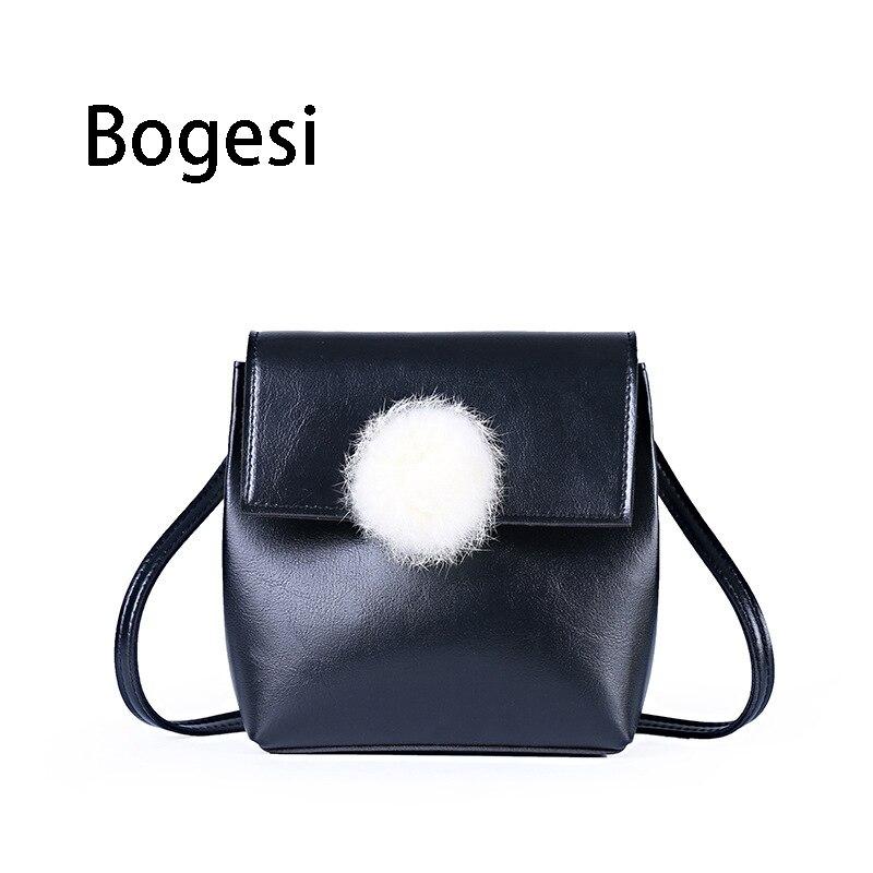 Bogesi New 2018 Women Bag PU Leather Hairbal Shoulder Bag Small Saddle For Girls Crossbody Bags For Women Messenger Bags все цены
