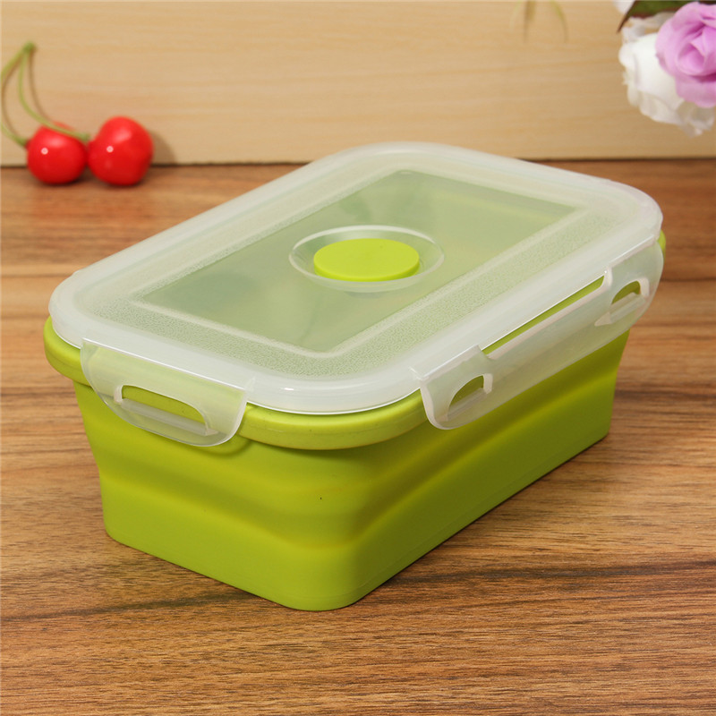 1Pc Silicone Portable Bento Lunchbox Collapsible Folding Food Salad