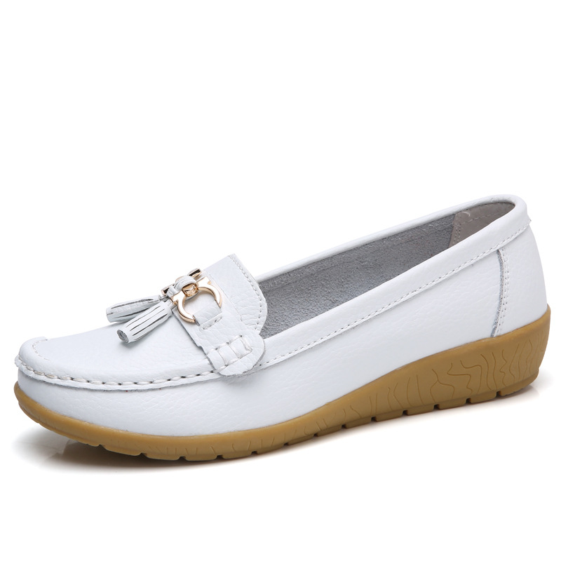 2018 Schuhes Woman Leder Leder Woman Damens Schuhes Flats Farbes Footwear Loafers Slip On Damens 6fa399