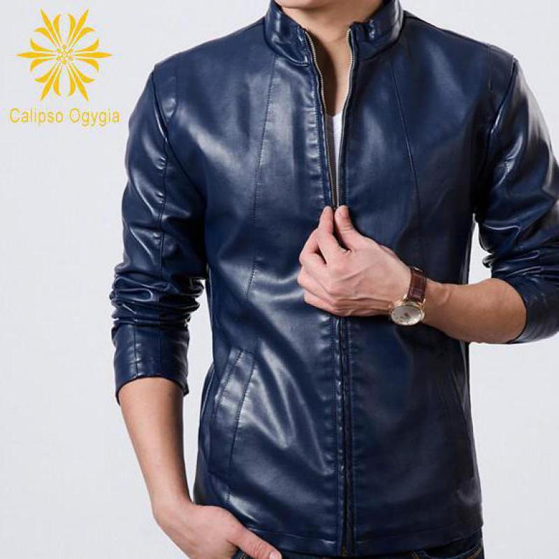 Men's Leather Jacket blue Slim fit Biker Motorcycle ...
