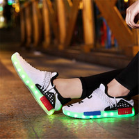 2019 Summer Led Luminous Shoes for Girls Boys USB Recharge Glowing Sneakers Man Light Up Shoes kids sneakers tenis mesh shoes