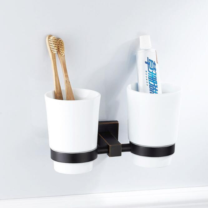 New Arrivals Antique Cup Holder Toothbrush Holder Ceramics Cups European style Square Brass Rack Tumbler Holder Wall Mounted leyden oil rubbed bronze toothbrush tumbler holder brass toothbrush holder