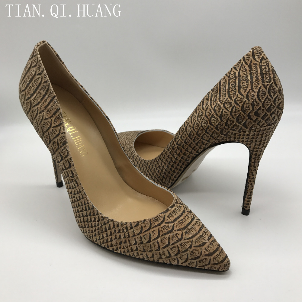 Hot Sales Women Pumps Fashion Design Sexy Casual High Heels Shoes High Quality Genuine leather Shoes Woman TIAN.QI.HUANG 1