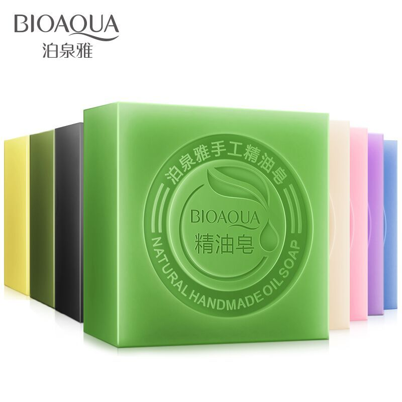 BIOAQUA Natural Organic Herbal Essential Oil Soap Whitening Handmade Soap Skin Remove Acne Deep Cleansing Face Hair Care Bath image