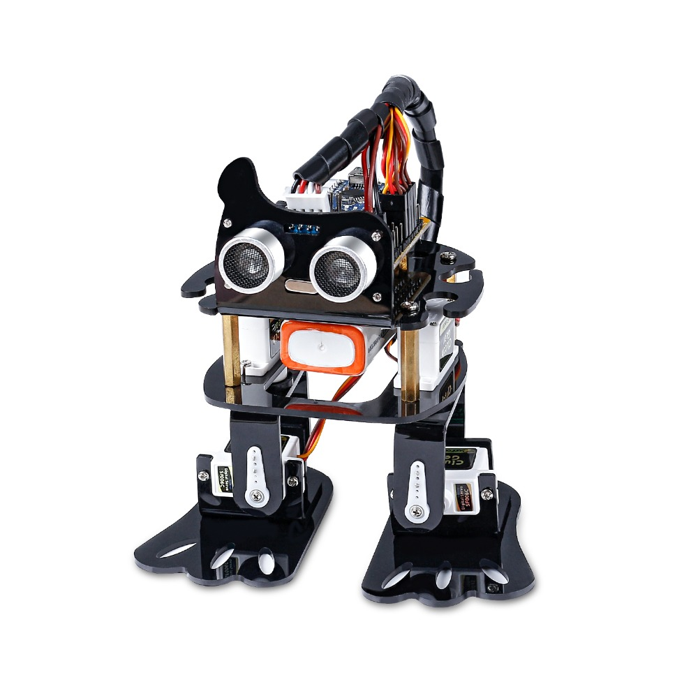 SunFounder DIY 4-DOF Robot Kit-Paresse D'apprentissage Kit Programmable Danse Robot Kit Pour Arduino Nano Électronique Jouet