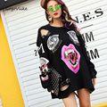Punk hole sweatershirt women spring long sleeve cutout black punk feminno loose red lip hole vampire pin clothes print LT0130