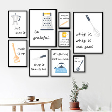 Wall Art Canvas Paintings Cartoon Kitchen Ware Quotes Nordic Style Poster Pictures Printed Modular Home Decor For Restaurant