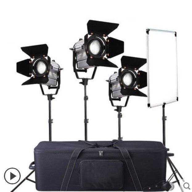 Photographie 3 pièces 150 W Gradateur studio LED Vidéo Fresnel Projecteur avec Télécommande Sans Fil + Support De Lumière + Sac de Transport + Drapeau Réflecteur