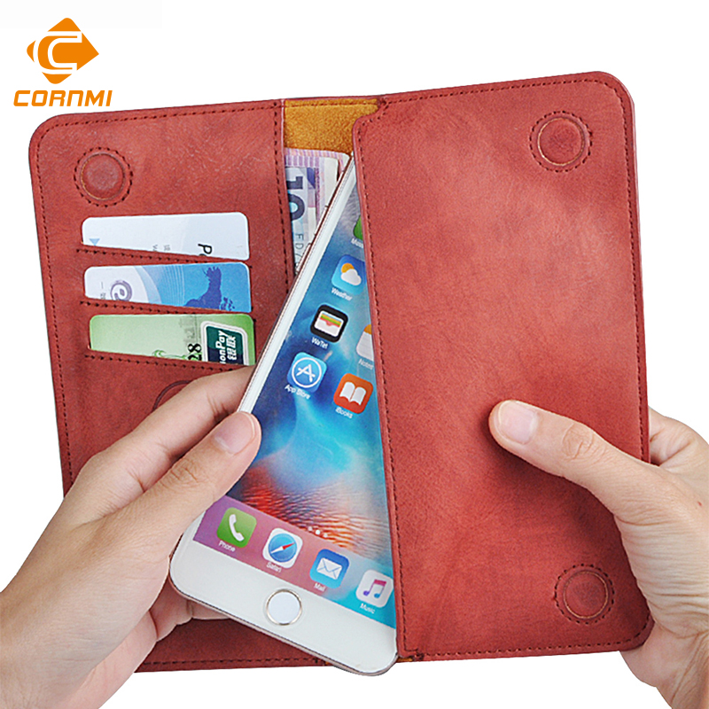 5,5 Universal Vintage cuero Flip cartera bolsa 8 para iPhone 7 Plus para Samsung S7 5,5 pulgadas teléfono celular caso CORNMI