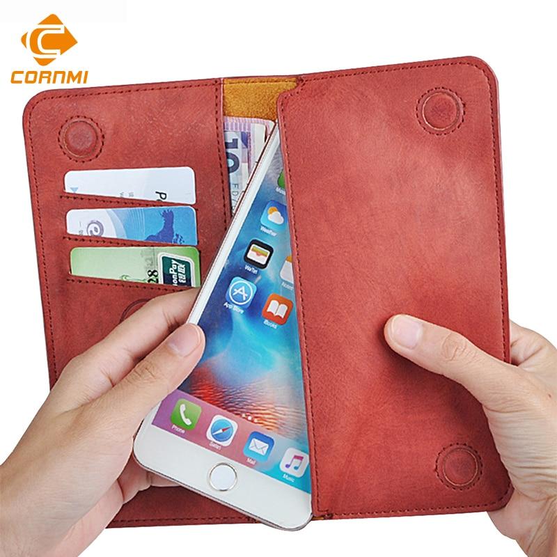 5.5 Universel Vintage En Cuir Flip Wallet Pouch Pour iPhone 8 7 Plus Pour Samsung S7 5.5 pouce Cas de Téléphone portable CORNMI