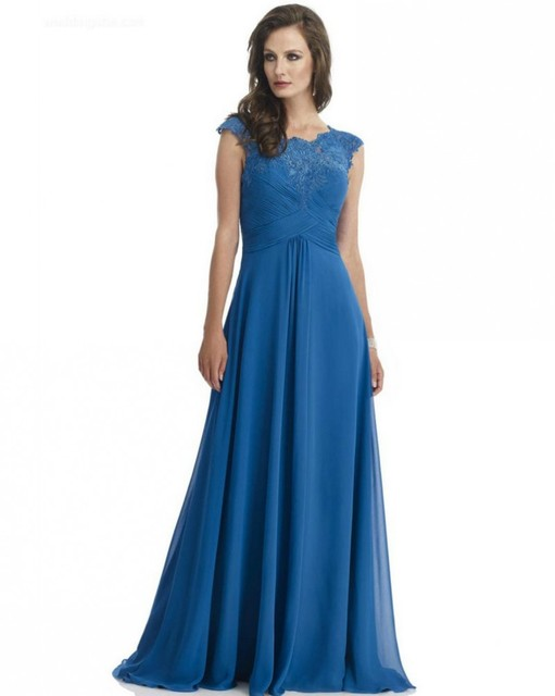 Womens Wedding Outfits Royal Blue Chiffon Lace Dress Mother 2017 Cap Sleeve Party