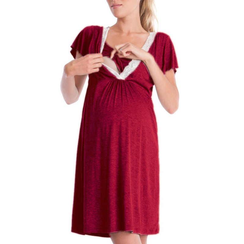 premam/á Vestido de Manga Corta de Maternidad para Mujeres Ropa de Dormir Embarazo Bolsillos de enfermer/ía Camisones de enfermer/ía Vestido Flecos Maternidad gestaci/ón Vestido Ropa Atuendo Vestir