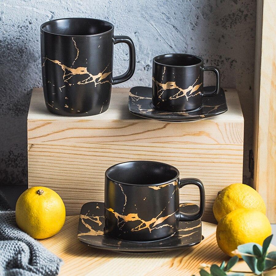 MUZITY cerámica taza de té y platillo conjunto creativo diseño de oro taza de porcelana juego de té negro taza de café Drinkware