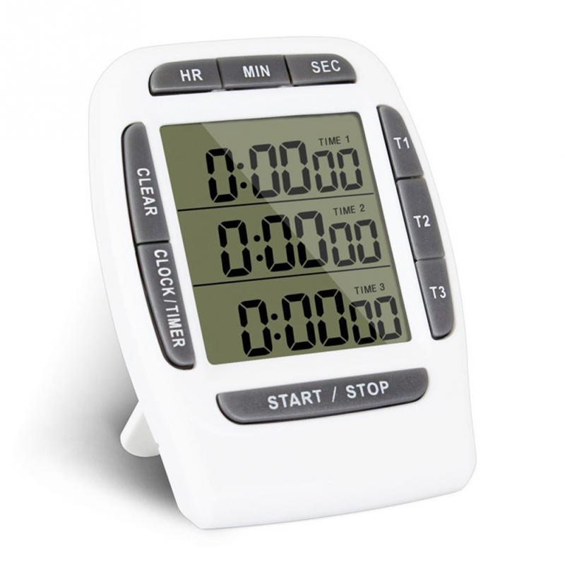 Cozinha multifuncional cozinhar temporizador 3 canais de exibição eletrônico função contagem regressiva temporizadores tempo dispositivo contagem #0528